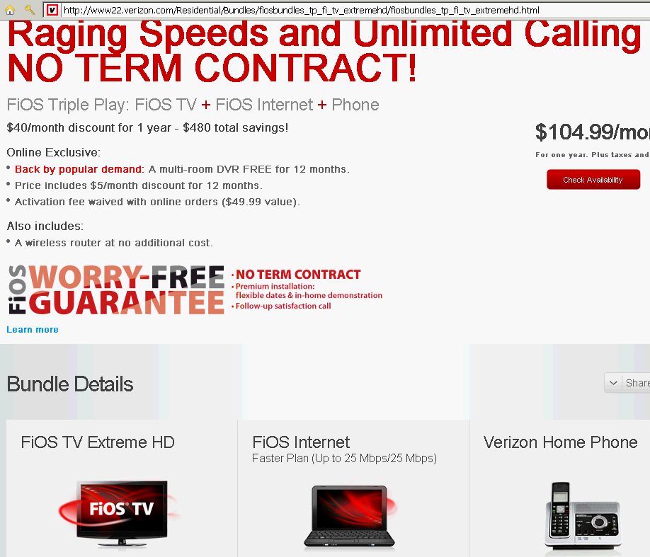 fios upgrade great offer WHEN signed into account bait and